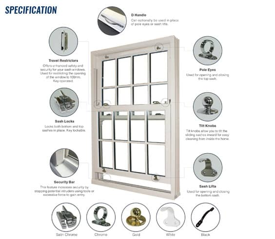 specification of upvc sliding sash windows